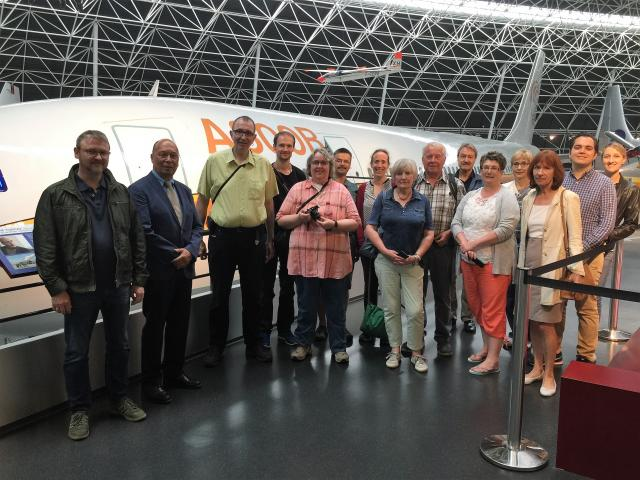 The Hamburg group in front of the A300B in the Aeroscopia Museum